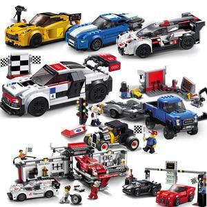 Decool City series racer speed champion car sets building blocks children brick toys compatible legoed repair station Pickup F1|Blocks| |  -