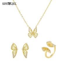 Necklace-Set Pendant-Earrings Choker Lucky-Jewelry Cubic-Zircon Gold Butterfly Fashion