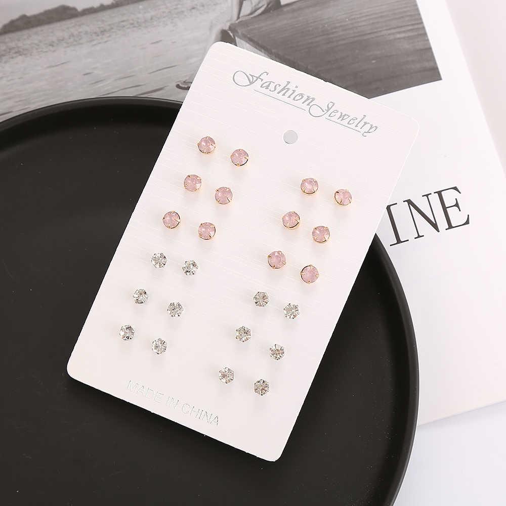 12 paires/ensemble boucles d'oreilles en cristal coloré pour les femmes 2019 nouvelle mode boucles d'oreilles bijoux femme Simple boucles d'oreilles ensemble cadeaux