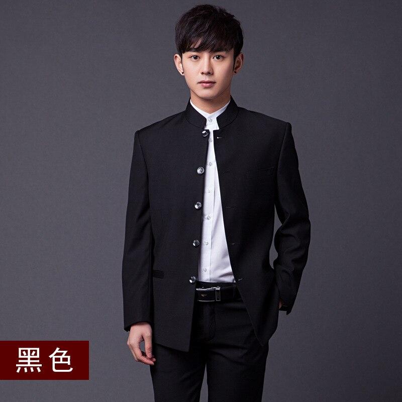 4XL Hohe Qualität Chinesischen Stil Slim Fit Männer Stehen Tunika Kragen Kleid Anzug Hochzeit Bräutigam Bühne Zeigen Nation Kostüm Solide weiß - 2