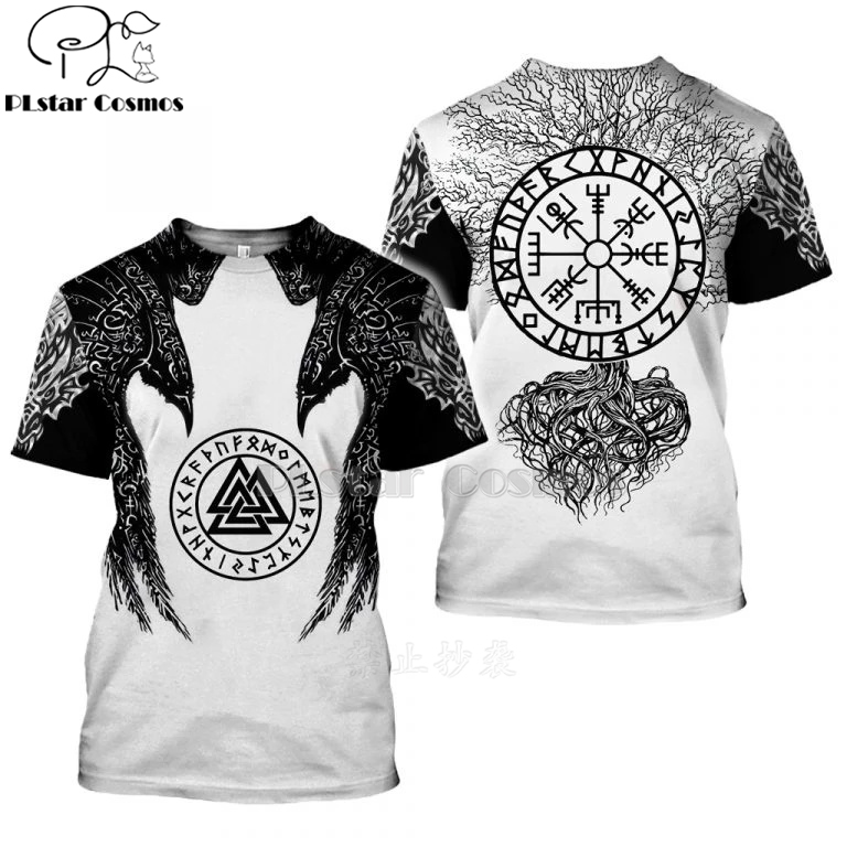 2020 New Fashion Men hoodies 3D Printed Viking Tattoo t shirt tees shorts sleeve Apparel Unisex Norse cosplay streetwear-7 1
