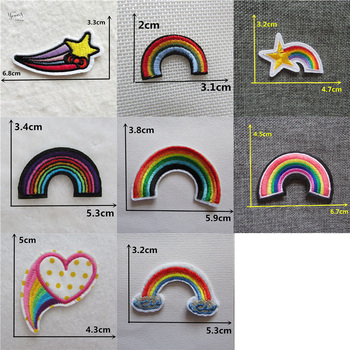 Cheap Embroidered Iron On Patches For Clothes Sewing Rainbow Patches Stripes on clothes Cute Stickers DIY Motif Applique badge image