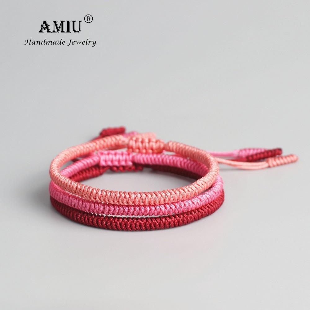AMIU Tibetan Buddhist Lucky Pink Woven Tibet Bracelets & Bangles For Women Men Handmade Knots Deongare Rope Wish Gift Bracelet