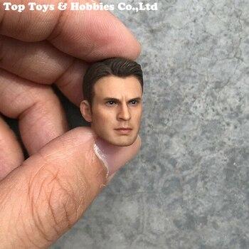 In Stock 1/12 Scale Male Head Sculpt Captain America Figure Accessory  for 6