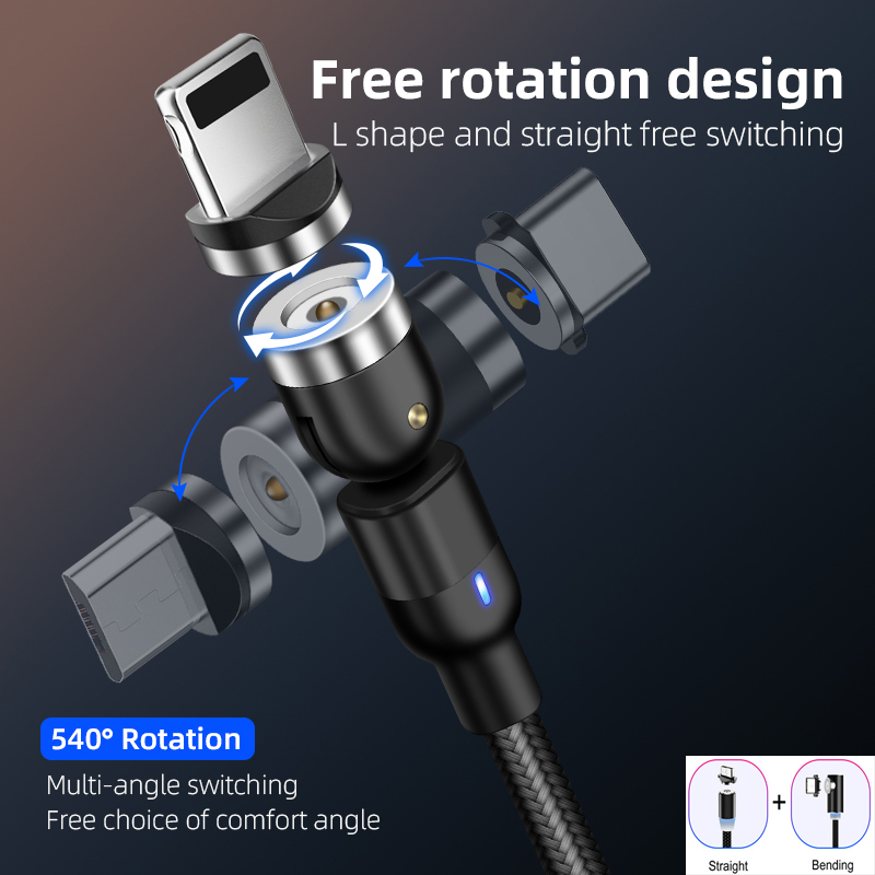 2020 New 3A 540 Degree Rotate Magnetic Cable Micro USB Type C Cable Magnetic Charging Cable For IPhone 11 Pro Max Samsung Line
