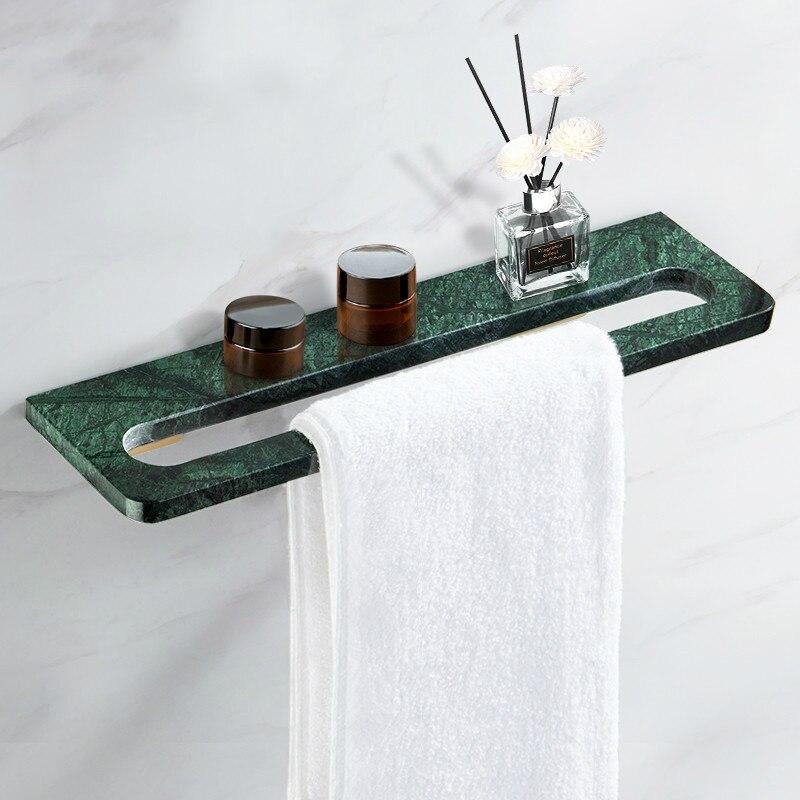 Luxury Towel Bar Green Marble Towel Rack Solid Brass Bathroom Accessories Sets Wall Shampoo Shelf Bathroom Hardware Towel Holder