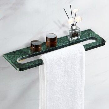 цена на Luxury Towel Bar Green Marble Towel Rack Solid Brass Bathroom Accessories Sets Wall Shampoo Shelf Bathroom Hardware Towel Holder