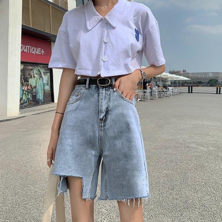 Half Long Summer High Waist Denim Shorts For Women Sexy Wide Leg Short Jeans Korean Style Harajuku Fashion Lace Up Shorts Femme