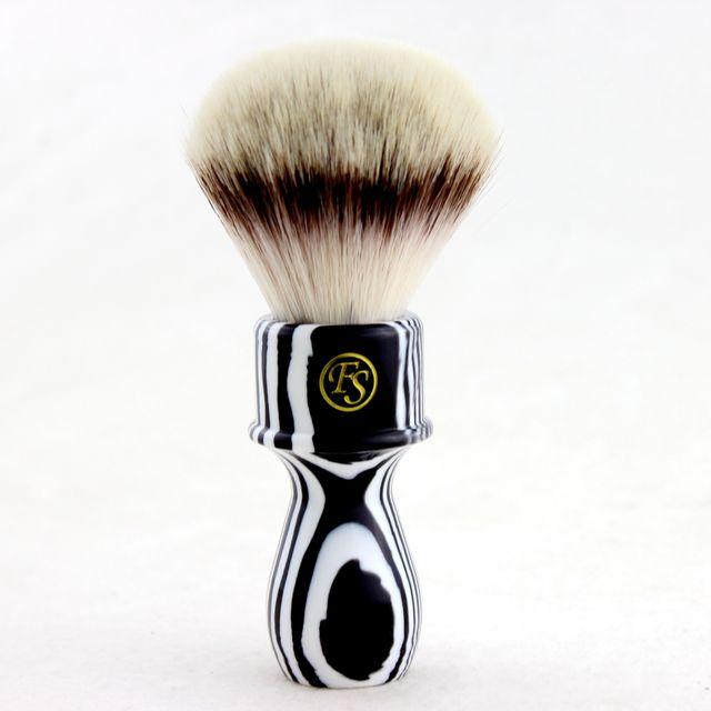 """FS"" 26mm G4 Synthetic Hair Shaving Brush Zebra Handle+FREE STAND"