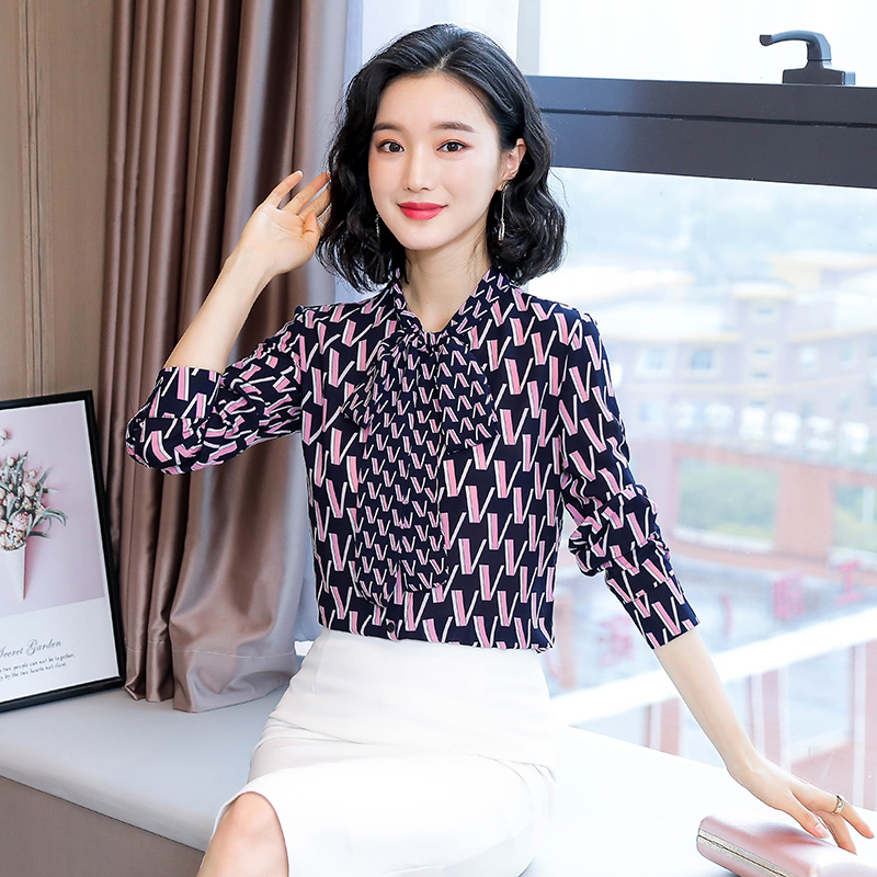 Korean Fashion Chiffon Women Blouses Woman Print Shirt Women Satin Blouse Shirt Plus Size Women Bow Shirts Blusas Mujer De Moda