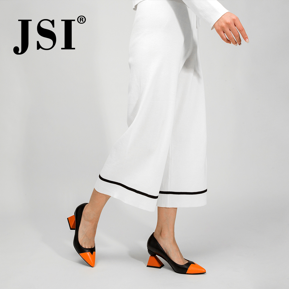 JSI Shoes Woman Pointed Toe High Heels Mixed Colors Strange Style Genuine Leather Ladies Shoes Slip-On Pumps Women Shoes Jc320