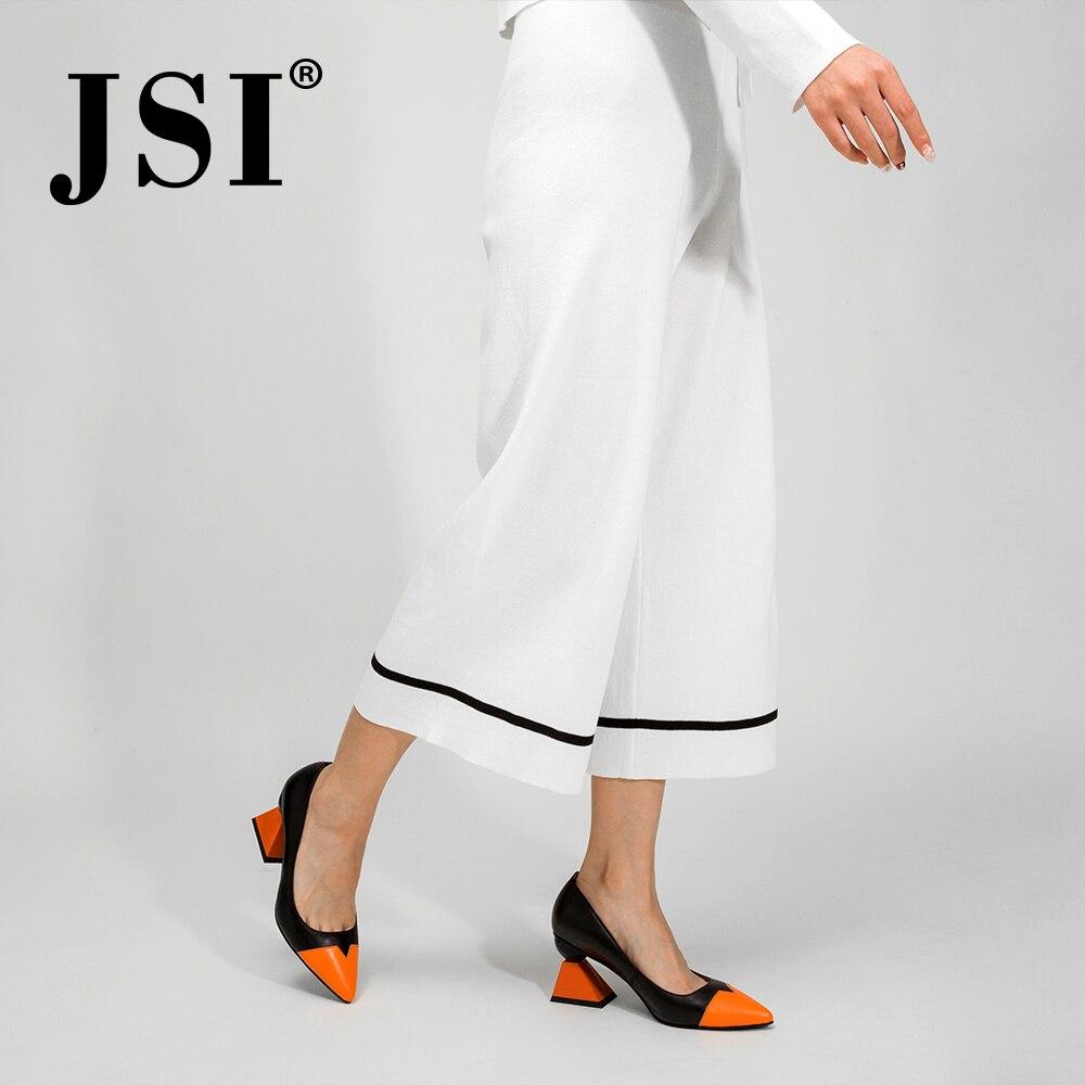 JSI chaussures femme bout pointu talons hauts couleurs mélangées Style étrange en cuir véritable dames chaussures pompes à enfiler femmes chaussures jc320