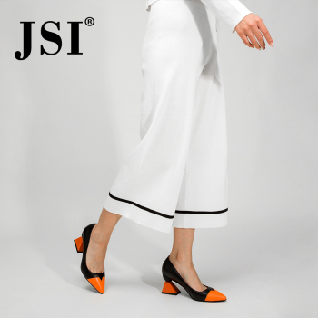 JSI Shoes Woman Pointed Toe High Heels Mixed Colors Strange Style Genuine Leather Ladies Shoes Slip-On Pumps Women Shoes jc320 venchale shallow slip on convenient 2018 new arrival high heels pointed toe woman plus size shoes genuine leather woman pumps