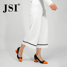JSI Shoes Woman Pointed Toe High Heels Mixed Colors Strange Style Genuine Leathe