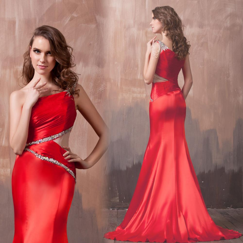 free shipping 2016 one shoulder bride sexy evening dresses fish tail dinner formal gown red long Mermaid crystal beaded sexy