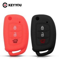 KEYYOU 3 boutons pour Hyundai Creta Tucson Elantra Santa Fe i10 i20 i30 iX25 iX35 pour KIA etui clés en Silicone à distance