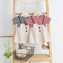 Girl Baby Dress False 2-piece Stripe Summer Short Sleeve Crew Neck for 6 Month -3 Years Old Baby Infant Girl Dress tanie tanio Cartoon Krótki REGULAR Na co dzień Frezowanie Pasuje prawda na wymiar weź swój normalny rozmiar as show Kolan -Line