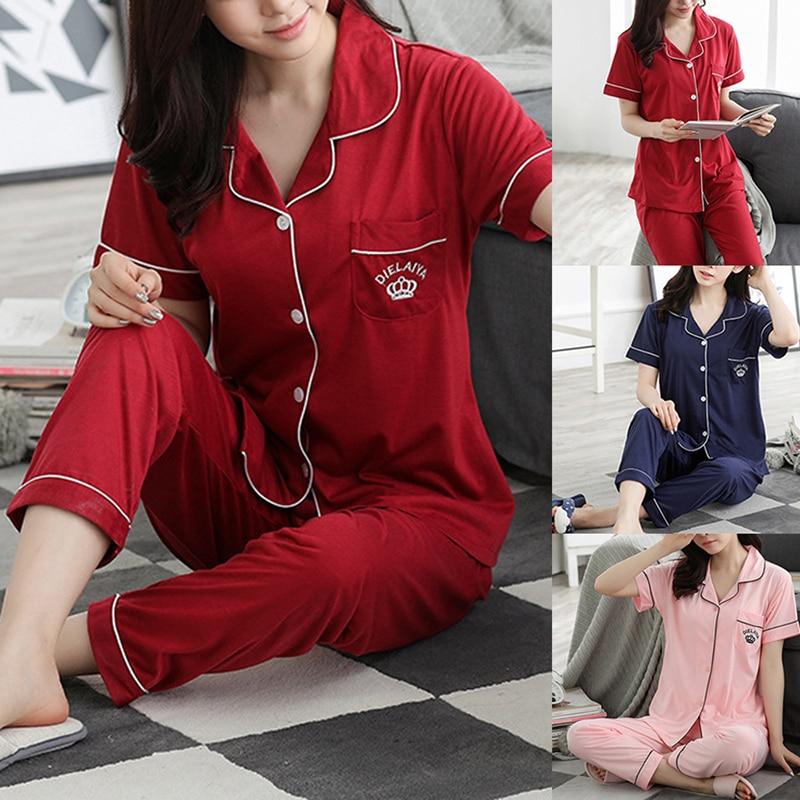 2020 New Cotton Pyjamas Women Pajamas Sets Couple Spring Long Sleeve Sleepwear V-Neck Femme Lounge Pijama Mujer