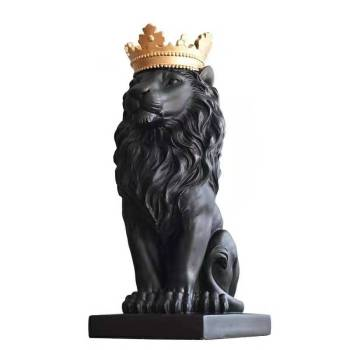 [MGT] Abstract Resin Lion Sculpture Crown Lion Statue Handicraft Decorations Lion King Modle Home Decoration Accessories Gifts