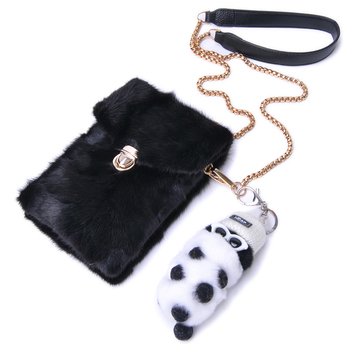 2019 New Mink Fur Small Bag Mini Vertical Chain Fur Mobile Phone Bag Female Fashion Single Shoulder Crossbody Bag Real Fur Bags