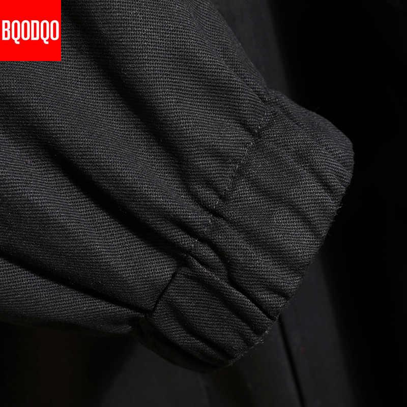 따뜻한 격자 무늬 자켓 겨울 파커 남성 코튼 일본 streetwear 힙합 롱 자켓 코트 블랙 밀리터리 패션 윈드 브레이커 5xl