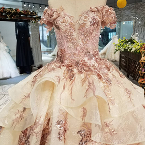 Image 5 - LS32521 off shoulder ball gown evening dress v neck lace up v back formal party dress with long train and peplum 2018 new design