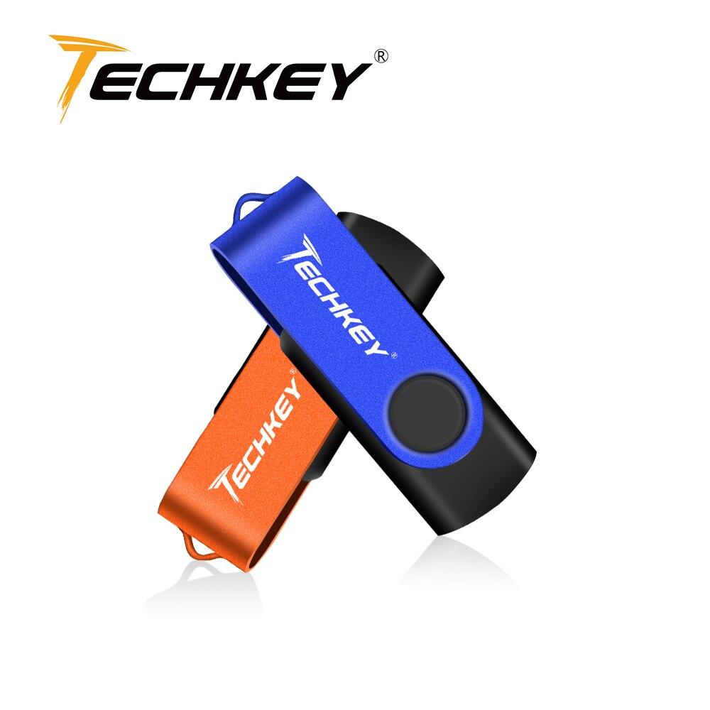 TECHKEY USB Flash Drive Pen Drive Smart Phone 4GB 8GB 16GB 32GB Pendrive Memory Cel Usb Stick