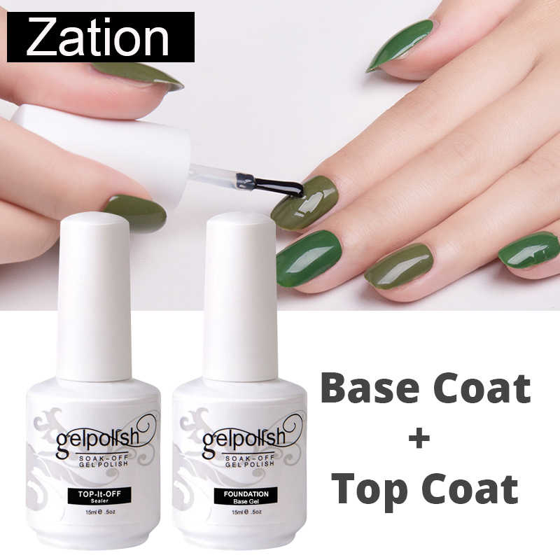 Zation UV GEL TOP Soak Off Foundation ฐาน Matte Top Coat GEL เจลเล็บ Lacquer เล็บ Salon Gelpolish เล็บ primer