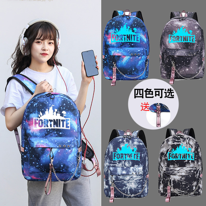 Fortnite Fortnite School Bag Game Related Products USB Charging Listening To Music Star School Bag Night Light Backpack