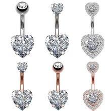 1 шт стальные кольца для пупка Хрустальный пирсинг Сердце Стиль
