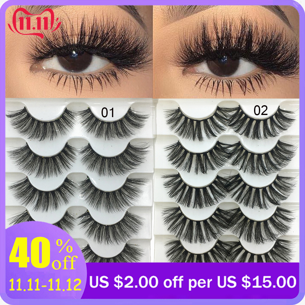 5 Pairs 3D Faux Mink Hair Soft False Eyelashes Fluffy Wispy Thick Lashes Handmade Soft Natural Eye Makeup Extension Tools