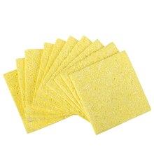 10 teile/beutel Qualität Schweißen Löten eisen Tipps Reinigung Schwamm Reiniger Pads reiniger schwamm lötkolben reinigung gelb schwamm