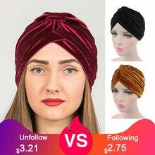 Novo muçulmano feminino estiramento sólido veludo turbante chapéus quimio beanie bandana hijab plissado envoltório capa boné perda de cabelo festa acessórios