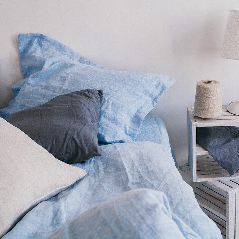 100% linho céu azul água esfregando fio tingido luxuoso customizável tamanho 4 pçs conjuntos de cama hotel americano - 3