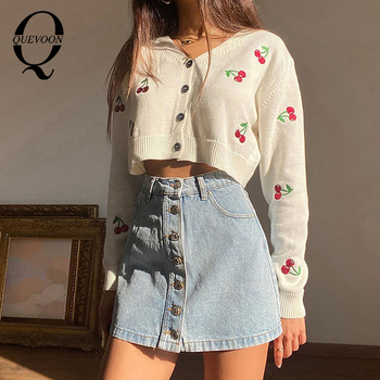 QUEVOON Knitted Embroidey Pink Color Cardiagans Female Buttoned Sweater V-Neck Long Sleeve High Fashion Sweater Autumn Winter buttoned v neck cardigan