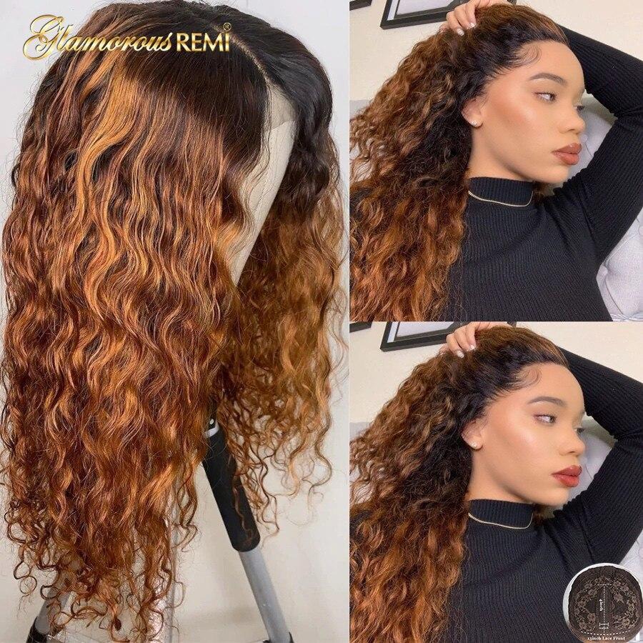 Ombre T częściowo koronka peruki z dziecięcymi włosami głęboka fala ludzkich włosów peruki dla kobiety Remy włosy koronkowe peruki gęstość 150 naturalną linią włosów