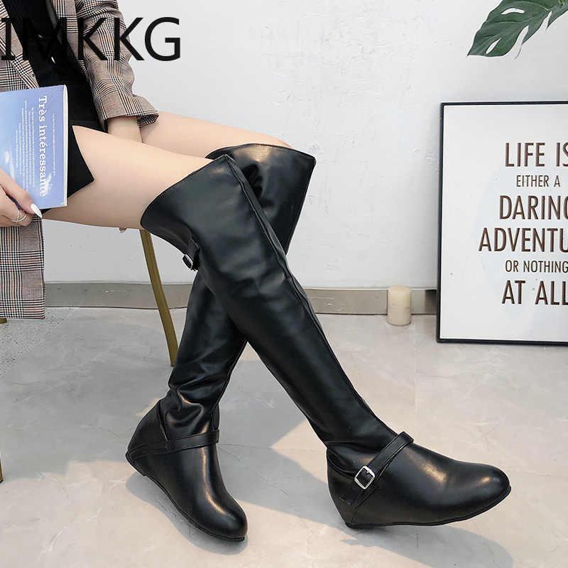 Büyük boy 43 over-diz Boots Artırmak Topuk Takozlar Tatlı Ince Bacak Uzun Çizmeler Kadın Beyaz Siyah Martin Çizme ayakkabı