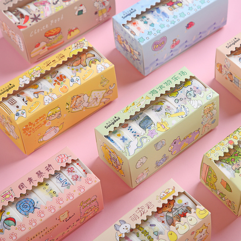 6roll/1lot Washi Masking Tapes Hack Little Daily Series Decorative Adhesive Scrapbooking DIY Paper Japanese Stickers 2M