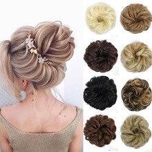 Манвэй синтетические эластичные волнистые кудрявые волосы пончик кудрявый кусок для женщин поддельные волосы черный коричневый хвосты Elasti стул булочка