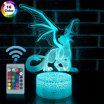 Remote & Touch Control 3D LED Night Light Dragon 7 / 16 Color Change LED Table Desk Lamp Home Decoration Kids Boy Xmas Gift  D30 3d led night light baby light goku anime bedroom decoration night light 16 color change usb table lamp dragon ball gift toy