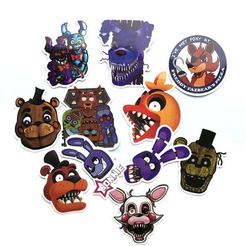 11pcs/1lot Fnaf Five Nights At Freddy Bike Car Laptop graffiti Stickers Waterproof Luggage Decal For Skateboard Toy image