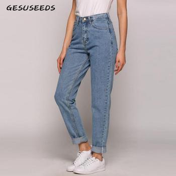 Dżinsy dla mamy Vintage wysokiej talii dżinsy damskie damskie dżinsy typu boyfriend dla kobiet dżinsy denim jasnoniebieskie koreańskie dżinsy mujer mama pasuje tanie i dobre opinie Gesuseeds Pełnej długości COTTON Streetwear JEANS GS009 Zmiękczania Ołówek spodnie REGULAR light WOMEN Wysoka Bielone