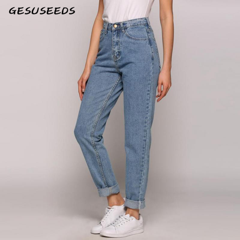 Mom Jeans Mom-Fit Light-Blue Vintage Denim Women Ladies High for Korean Mujer title=