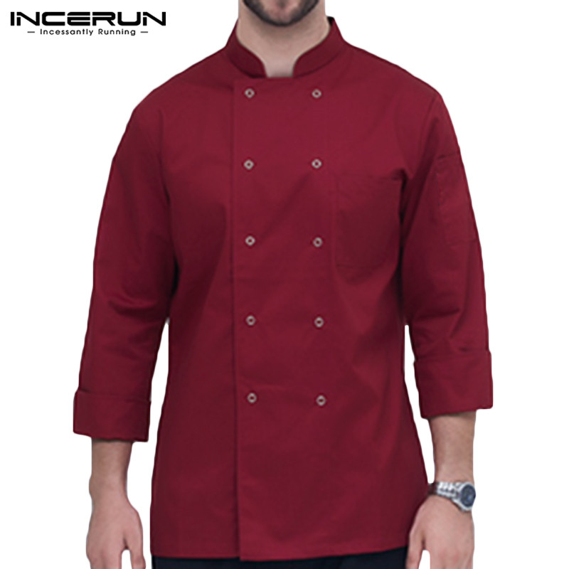 INCERUN Fashion Men Solid Color Long Sleeve Collar Chef Jackets Hotel Restaurant Uniform Comfort Men's Food Service Overalls