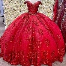 Lindo vermelho 3d floral quinceanera vestidos fora do ombro corset laço-up doce 16 baile vestido de baile vestidos de 15 anos