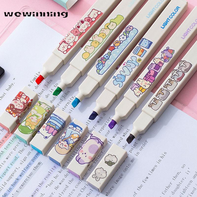 Morandi Highlighter Kawaii Nette Gel Stifte 6 stücke Kreative Schnell Trocknend Kappe Neutral Pens Koreanische Schreibwaren Schule Bürobedarf