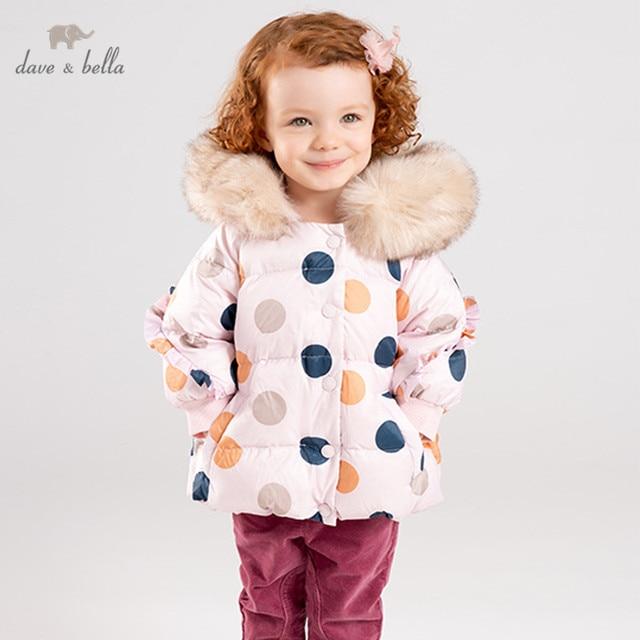 DBM11849 dave bella manteau de duvet pour filles | Vêtements dextérieur en fourrure froncée, motif à capuche, 90% duvet de canard blanc, rembourré, pour enfants