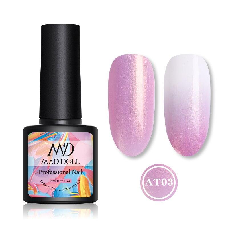 8ml MAD DOLL Summer Series Pearly Lustre UV Gel Colorful Soak Off Manicurig Nail UV Semi Permanent Gel Polish Base Coat Top Coat
