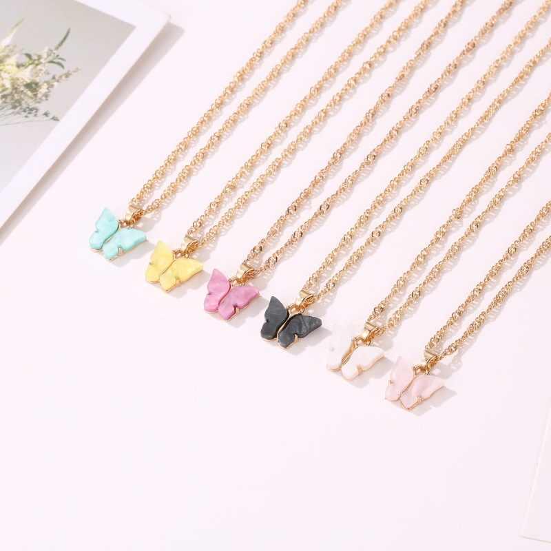 Süße Acryl Farbe Schmetterling Halskette für Frauen Lange Wilden Schlüsselbein Kette Personalisierte Anhänger Raffiniertes Stilvolle Mujer Geschenk