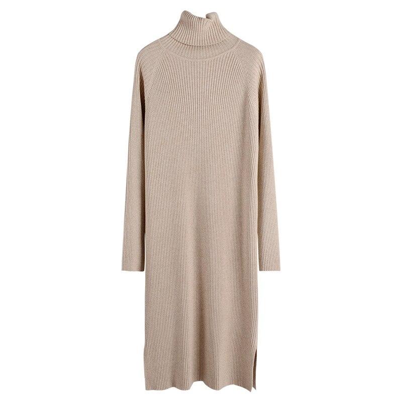 High Collar Raglan Long Sleeve Straight-Cut Jersey Dress Long Pullover WOMEN'S Dress Solid Color Long Sleeve Skirt Underwear Ver